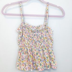 American Eagle Yellow Smocked Floral Crop Top